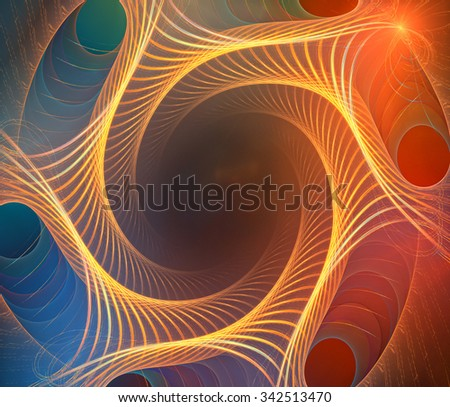 Fractal background with abstract spiral curves. High detailed. - stock photo