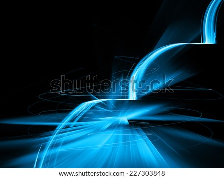 fractal blue fantasy - stock photo