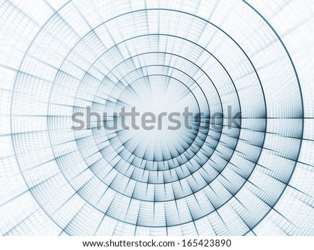 Fractal Burst series. Composition of fractal radial burst pattern with metaphorical relationship to science, technology and design - stock photo