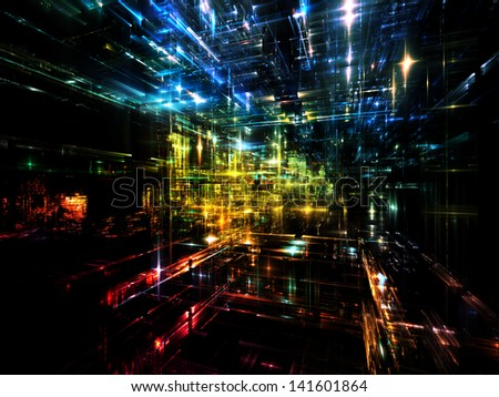 Fractal City series. Artistic background made of three dimensional fractal structures and lights for use with projects on technology, communications, education and science