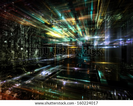 Fractal City series. Backdrop design of three dimensional fractal structures and lights to provide supporting element for illustrations on technology, communications, education and science