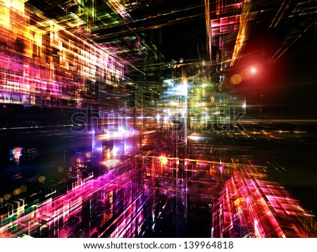 Fractal City series. Background composition of  three dimensional fractal structures and lights to complement your layouts on the subject of technology, communications, education and science - stock photo