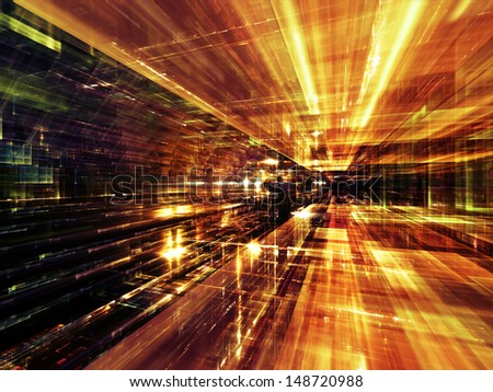 Fractal City series. Background design of three dimensional fractal structures and lights on the subject of technology, communications, education and science - stock photo