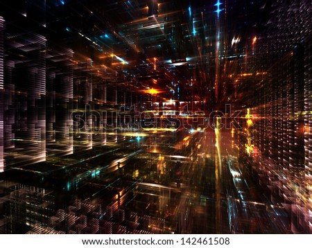 Fractal City series. Composition of three dimensional fractal structures and lights with metaphorical relationship to technology, communications, education and science