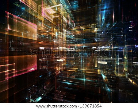 Fractal City series. Creative arrangement of three dimensional fractal structures and lights to act as complimentary graphic for subject of technology, communications, education and science