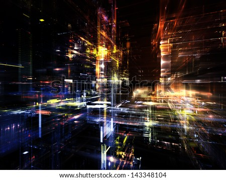 Fractal City series. Design composed of three dimensional fractal structures and lights as a metaphor on the subject of technology, communications, education and science