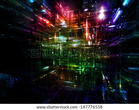 Fractal City series. Design made of three dimensional fractal structures and lights to serve as backdrop for projects related to technology, communications, education and science