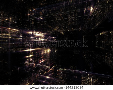 Fractal City series. Interplay of three dimensional fractal structures and lights on the subject of technology, communications, education and science