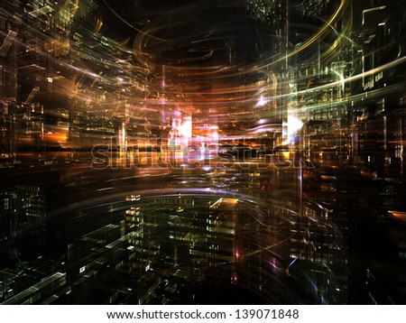 Fractal City series. Visually attractive backdrop made of three dimensional fractal structures and lights suitable as element for layouts on technology, communications, education and science