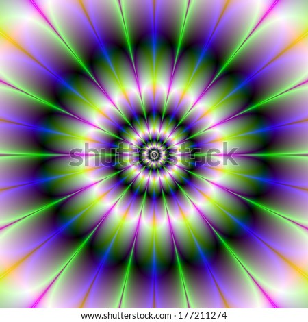 Fractal Daisy / Digital abstract fractal image with a flower pattern design in green, blue and purple.