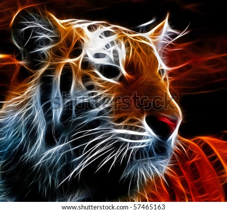 Fractal design of a siberian tiger - stock photo