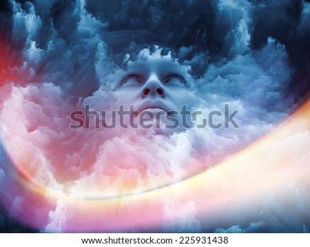 Fractal Dream series. Backdrop of human face and fractal textures on the subject of mind, dreaming and imagination - stock photo