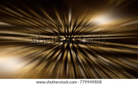 Fractal explosion star with gloss and lines. Abstract gold background with rays. Effective illustration.