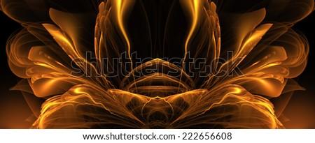 fractal fantasy gold - stock photo