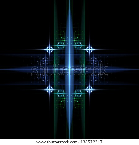 Fractal flame background. Blue and green pattern.