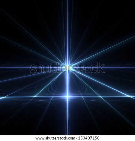 Fractal flame background. Blue line perspective.  - stock photo