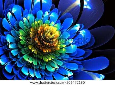Fractal Flower Blue - stock photo