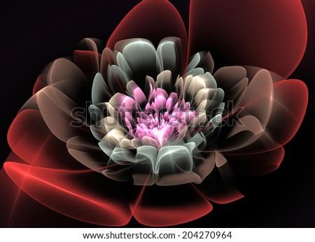 Fractal Flower Glass effects - stock photo
