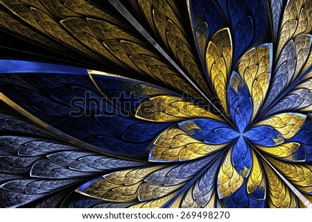 Fractal flower or butterfly in stained-glass window style on black. Beige and blue palette. Computer generated graphics. - stock photo