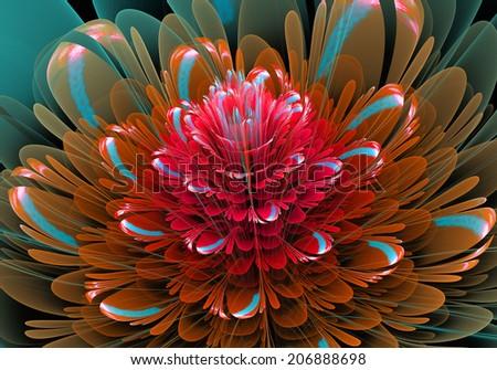 Fractal Flower red - stock photo