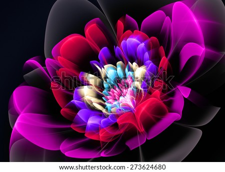 Fractal Flower red Glass effects - stock photo