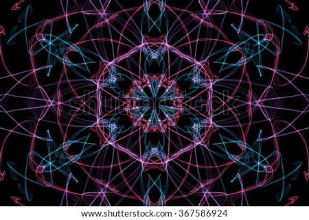Fractal flower. Symmetrical shapes. Abstract dark background. - stock photo