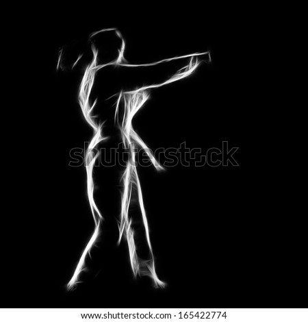 Fractal full-length silhouette portrait of beautiful martial arts girl in kimono excercising karate kata on black - stock photo