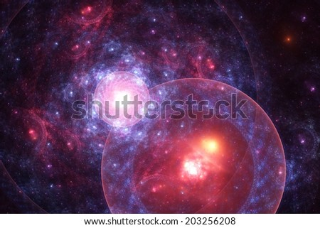 Fractal galaxy - abstract digital render with a space theme - stock photo