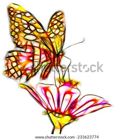 Fractal illustration of a beautiful butterfly on a flower - stock photo