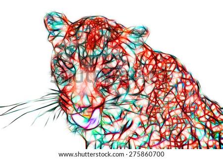 Fractal illustration of a Leopard - stock photo