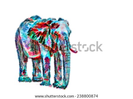 Fractal illustration of a male african elephant