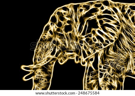 Fractal illustration of a male african elephant - stock photo