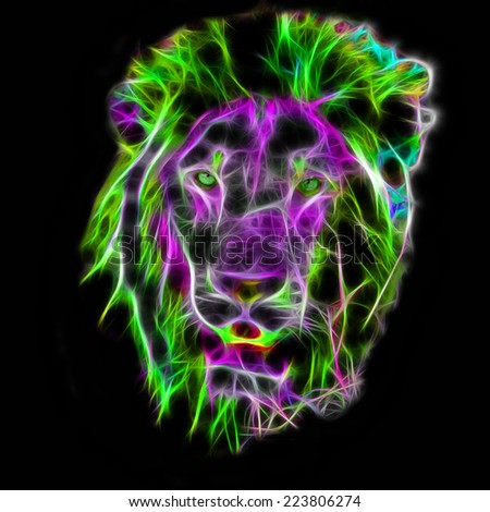 Fractal illustration of a Male African Lion - stock photo