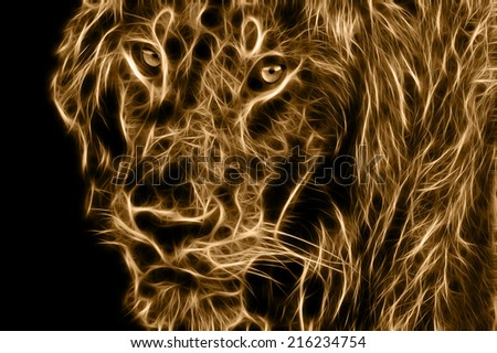 Fractal illustration of a Male African Lion in the Maasai Mara National Park, Kenya - stock photo