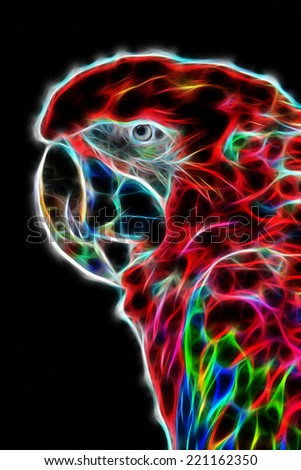 Fractal illustration of a red macaw parrot - stock photo