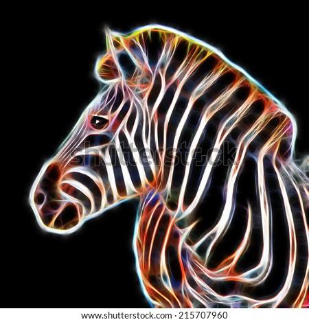 Fractal illustration of a Zebra in the Kruger National Park, South Africa - stock photo