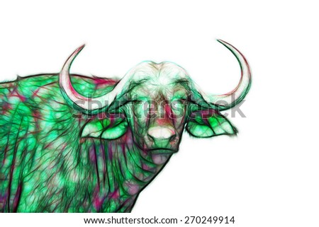 Fractal illustration of an African Buffalo