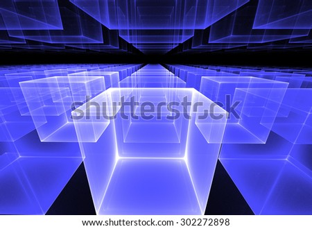 fractal illustration of cosmic background of rows of cubes in perspective - stock photo