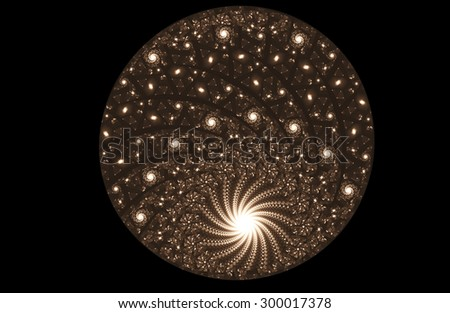 fractal illustration of glowing ball of pearls and spirals - stock photo