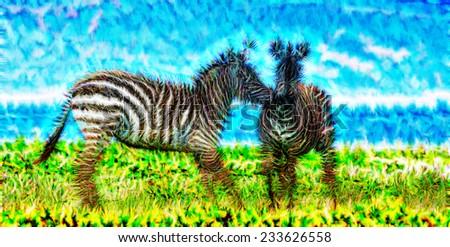 Fractal illustration of two Zebras - stock photo