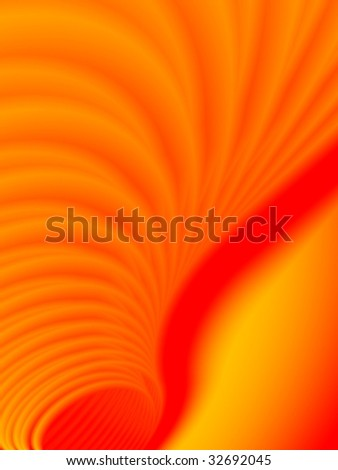 Fractal image depicting an abstract tunnel of fire.