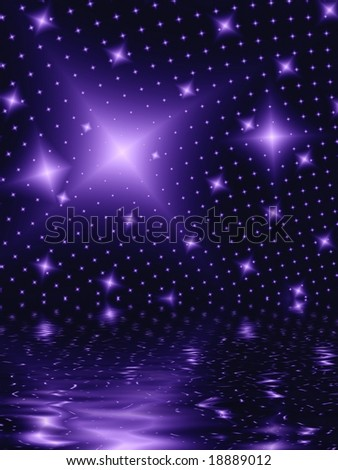 Fractal image of a star field of a galaxy or constellation reflected in water.