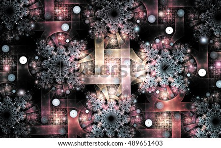 Fractal image on a dark background colorful lines, intricately interwoven into a beautiful pattern of snowflakes.