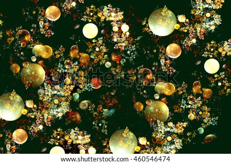 Fractal images in a large variety in size and color of bubbles.
