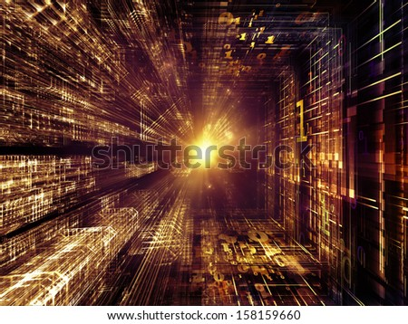 Fractal Realms series. Abstract design made of fractal elements, grids  and symbols on the subject of education, science and technology - stock photo