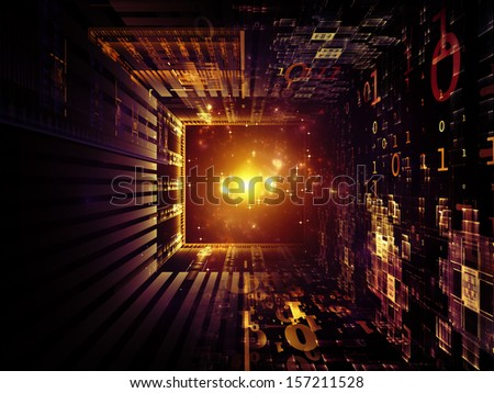 Fractal Realms series. Composition of fractal elements, grids  and symbols on the subject of education, science and technology - stock photo