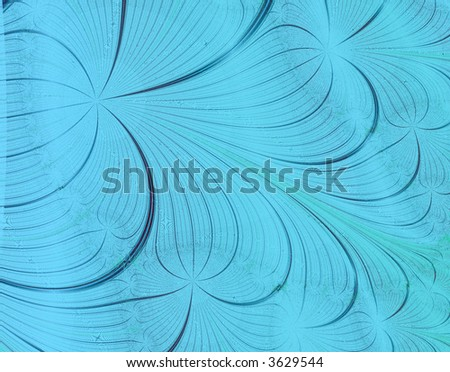Fractal rendition of blue curves back ground - stock photo