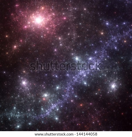 Fractal space: abstract render of a field of stars - stock photo
