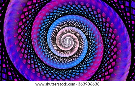 Fractal spiral. Abstract fractal. Fractal art background for creative design. Decoration for wallpaper desktop, poster, cover booklet. Abstract texture. Psychedelic. Print for clothes, t-shirt. - stock photo