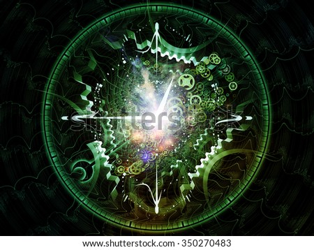 Fractal Time  series. Composition of clock and fractal elements with metaphorical relationship to time, science and modern technology